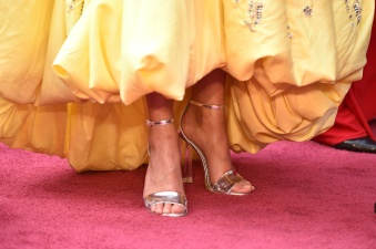 HOLLYWOOD, CA - FEBRUARY 28: Actress Alicia Vikander, Shoe Detail, attends the 88th Annual Academy Awards at the Hollywood & Highland Center on February 28, 2016 in Hollywood, California. (Photo by C Flanigan/FilmMagic)